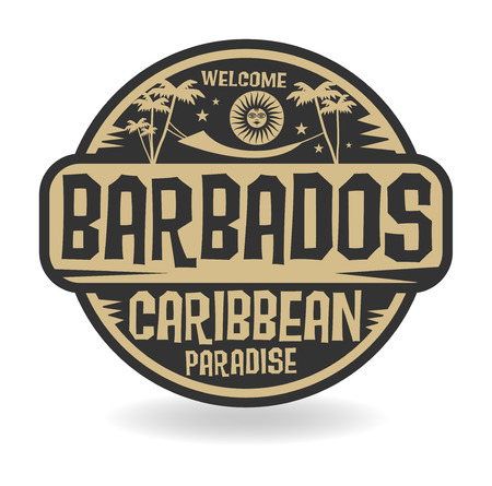 caribbean beach: Stamp or label with the name of Barbados, vector illustration Illustration