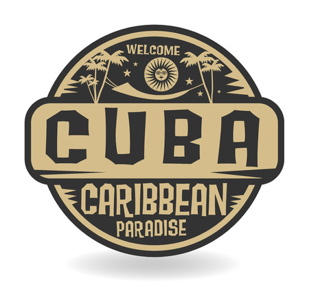 Stamp or label with the name of Cuba, vector illustration