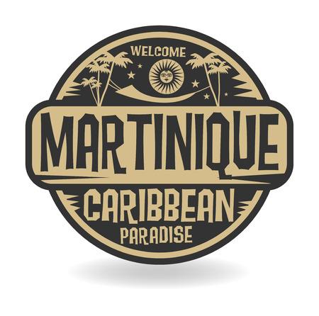 Stempel of etiket met de naam van Martinique, vector illustratie Stock Illustratie