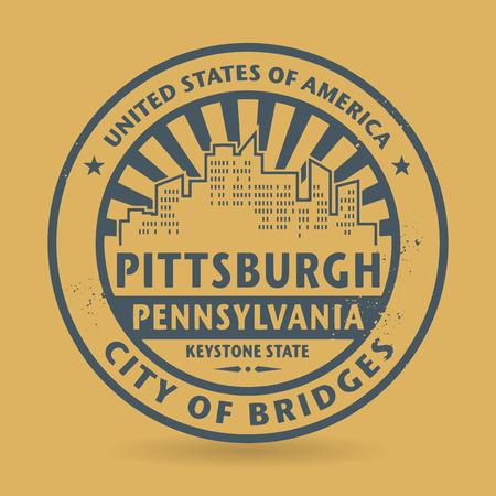 ピッツバーグ、ペンシルバニア州、ベクトル図の名前とグランジ ゴム印