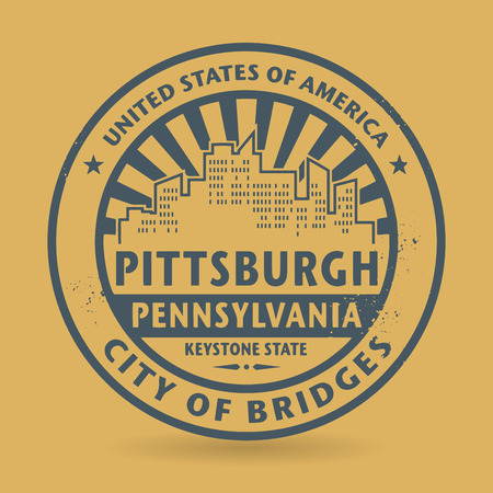 Grunge rubber stamp with name of Pittsburgh, Pennsylvania, vector illustration
