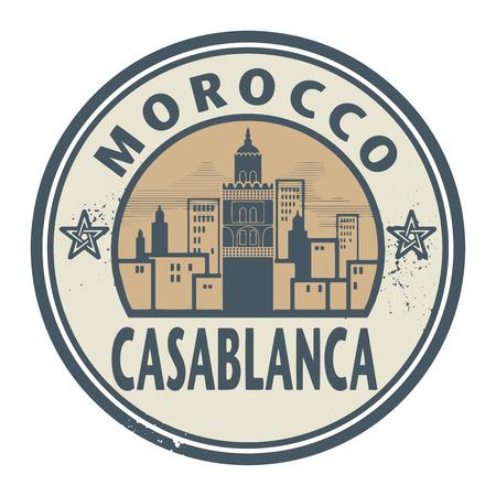 east africa: Stamp or label with text Casablanca, Morocco inside, vector illustration Illustration