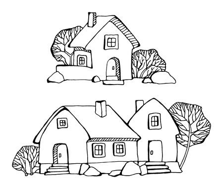 Cartoon hand tekening huizen