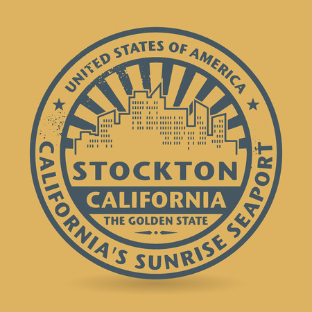Grunge rubber stamp with name of Stockton, California, vector illustration