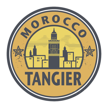 Stamp or label with text Tangier, Morocco inside, vector illustration Illustration