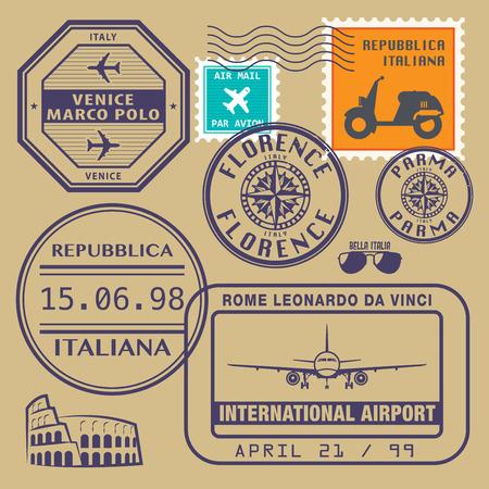 timbre voyage: timbres de voyage établis, illustration vectorielle