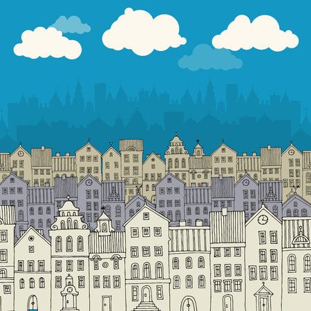 house drawing: Cartoon hand drawing city