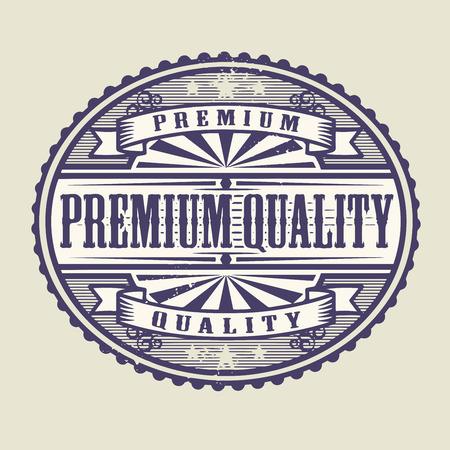 assured: Sello de goma de la vendimia con la Calidad de texto premium escrito interior, ilustraci�n vectorial Vectores