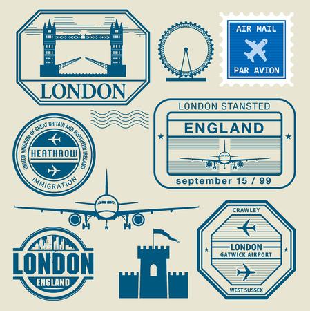 stamp: Sellos del recorrido establecido, ilustraci�n vectorial