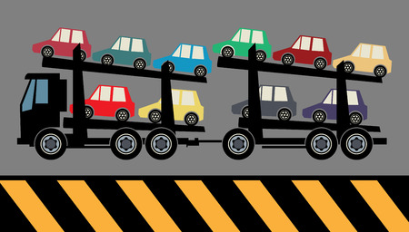 car carrier: Car carrier truck deliver new auto, vector illustration