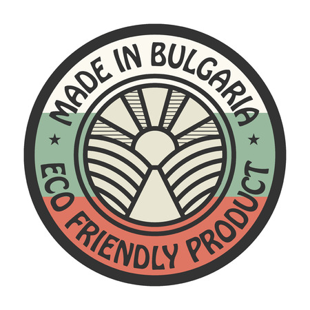 natural ice pastime: Abstract stamp or label with text Made in Bulgaria, Eco Friendly Product, vector illustration