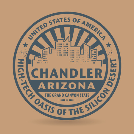 Grunge rubber stamp with name of Chandler, Arizona, vector illustration Vector