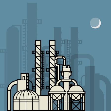storage tank: Oil refinery factory, vector illustration