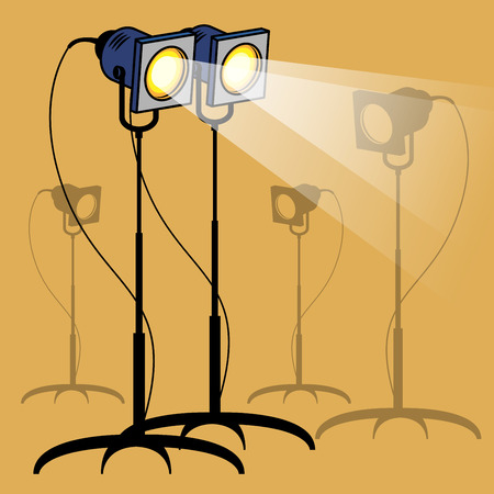 power projection: Stage lights, vector illustration