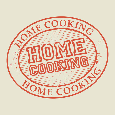 Abstract stamp or label with the text Home Cooking written inside, vector illustration