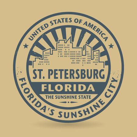 st petersburg: Grunge rubber stamp with name of St. Petersburg, Florida, vector illustration