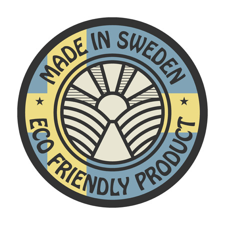 natural ice pastime: Abstract stamp or label with text Made in Sweden, Eco Friendly Product, vector illustration