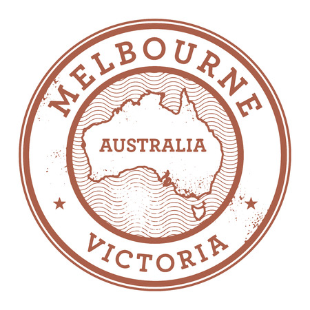 australia stamp: Grunge rubber stamp with the text Australia, Melbourne written inside the stamp, vector illustration