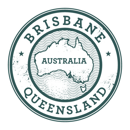 australia stamp: Grunge rubber stamp with the text Australia, Brisbane written inside the stamp, vector illustration