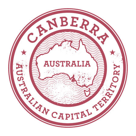 australia stamp: Grunge rubber stamp with the text Australia, Canberra written inside the stamp, vector illustration Illustration
