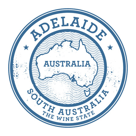 australia stamp: Grunge rubber stamp with the text Australia, Adelaide written inside the stamp, vector illustration