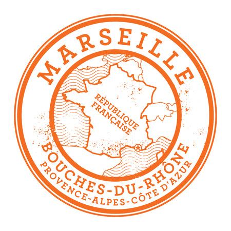 france stamp: Grunge rubber stamp with words Marseille, France inside, vector illustration Illustration