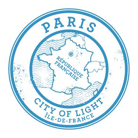 france stamp: Grunge rubber stamp with words Paris, France inside, vector illustration