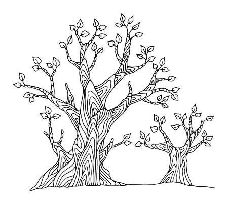 Hand drawing sketch of tree Illustration