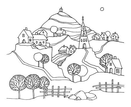 farm cartoon: Hand drawn rural landscape