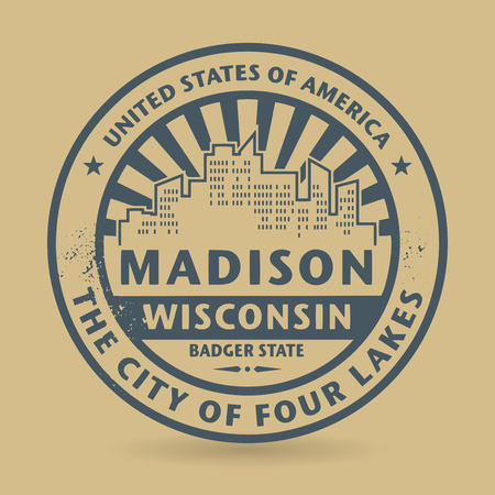 state of wisconsin: Grunge rubber stamp with name of Madison, Wisconsin, vector illustration