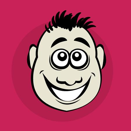 mimic: Smiling cartoon face, vector illustration