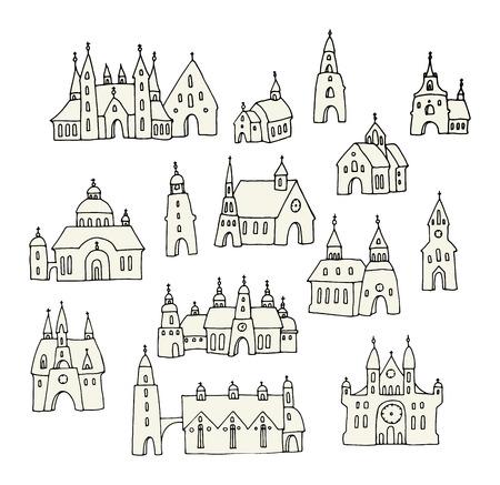 church window: Cartoon hand drawing houses Illustration