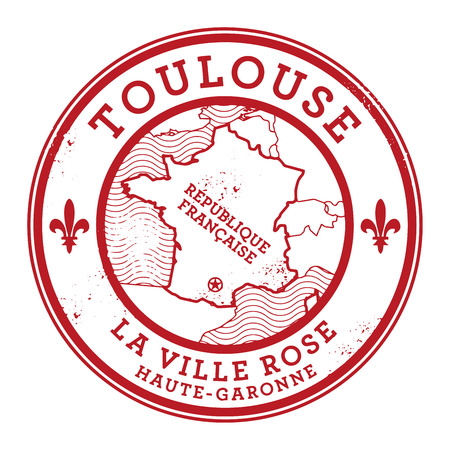 toulouse: Grunge rubber stamp with words Toulouse, France inside, vector illustration