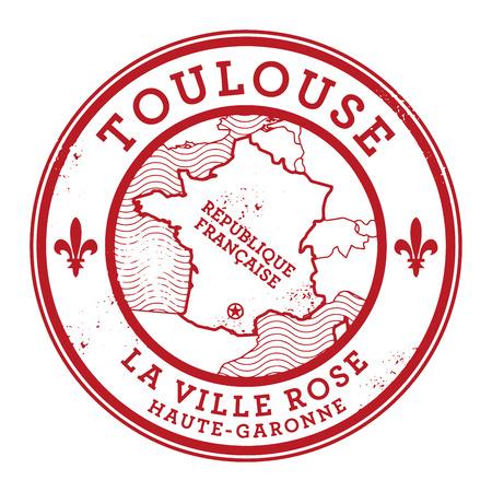 france stamp: Grunge rubber stamp with words Toulouse, France inside, vector illustration