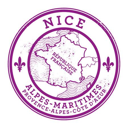 france stamp: Grunge rubber stamp with words Nice, France inside, vector illustration