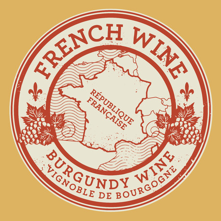 french countryside: Grunge rubber stamp or label with words French Wine, Burgundy Wine, vector illustration Illustration