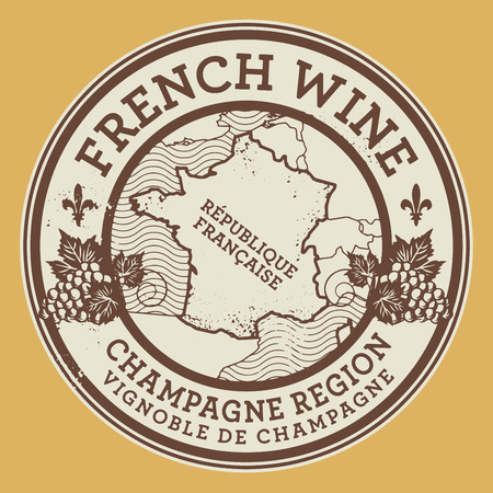 french countryside: Grunge rubber stamp or label with words French Wine, Champagne Region, vector illustration