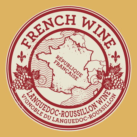 french countryside: Grunge rubber stamp or label with words French Wine, Languedoc-Roussillon wine, vector illustration