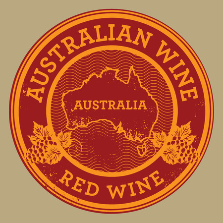 red wine: Grunge rubber stamp or label with words Australian Wine, Red Wine, vector illustration