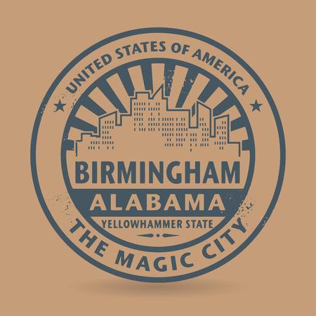 birmingham: Grunge rubber stamp with name of Birmingham, Alabama, vector illustration