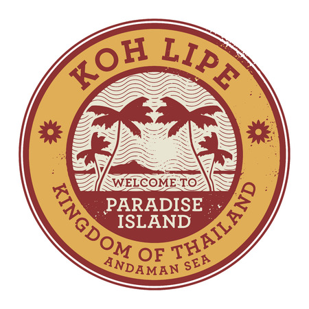 stamp passport: Stamp or label with the name of Koh Lipe Island, vector illustration