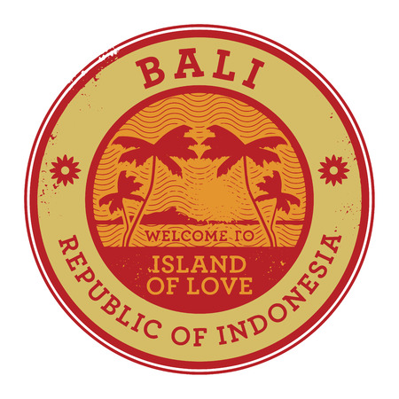 Stamp or label with the name of Bali Island, vector illustration Vettoriali
