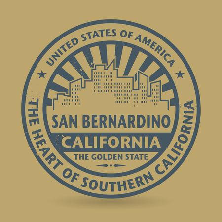 bernardino: Grunge rubber stamp with name of San Bernardino, California, vector illustration Illustration