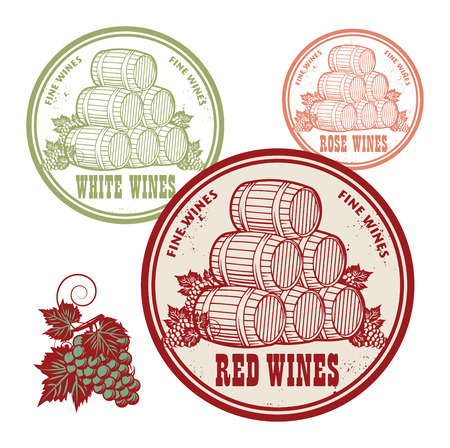 wines: Grunge rubber stamp set with words Red, White and Rose Wines, vector illustration