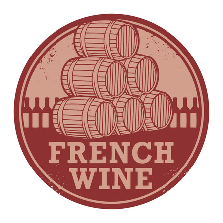 Grunge rubber stamp with words French Wine, vector illustration Vector
