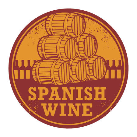 Grunge rubber stamp with words Spanish Wine, vector illustration