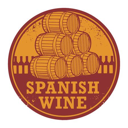 Grunge rubberen stempel met woorden Spaanse wijn, vector illustratie