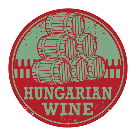 hungarian: Grunge rubber stamp with words Hungarian Wine, vector illustration Illustration