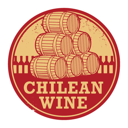 regional: Grunge rubber stamp with words Chilean Wine, vector illustration