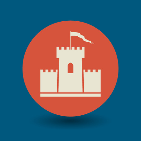 chateau: Castle icon or sign, vector illustration